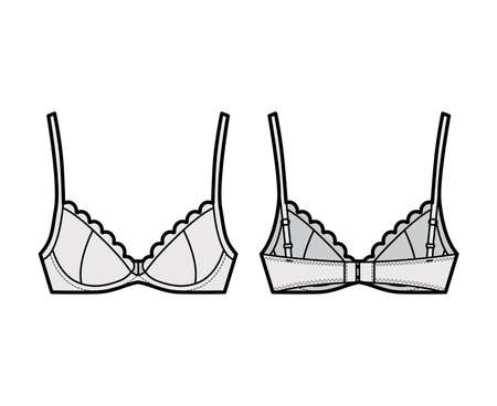 Bra scalloped cups lingerie technical fashion illustration with full adjustable straps, hook-and-eye closure. Flat brassiere template front back grey color style. Women men unisex underwear CAD mockup