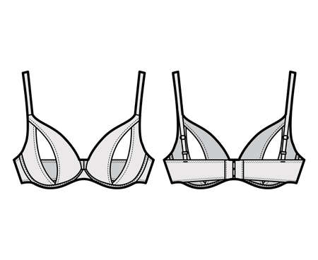 Peephole Bra lingerie technical fashion illustration with adjustable shoulder straps, Underwire, hook-and-eye closure. Flat brassiere template front, back grey color style. Women underwear CAD mockup