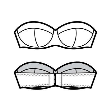 Bra strapless balconette lingerie technical fashion illustration with molded cups, hook-and-eye closure. Flat brassiere template front, back white color style. Women men unisex underwear CAD mockup