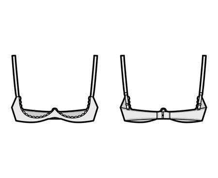 Bra shelf open cup lingerie technical fashion illustration with adjustable shoulder straps, hook-and-eye closure. Flat brassiere template front, back grey color style. Women men underwear CAD mockup 矢量图像