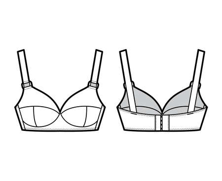 Maternity Bra lingerie technical fashion illustration with wide adjustable straps, molded cups, hook-and-eye closure. Flat brassiere template front, back white color style. Women underwear CAD mockup