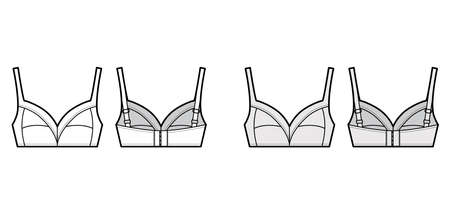 Bra soft cup lingerie technical fashion illustration with full adjustable shoulder straps, hook-and-eye closure. Flat brassiere template front, back white color style. Women men underwear CAD mockup