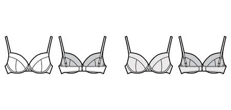 Bra full cup lingerie technical fashion illustration with full adjustable shoulder straps, hook-and-eye closure. Flat template front, back white grey color style. Women men underwear CAD mockup