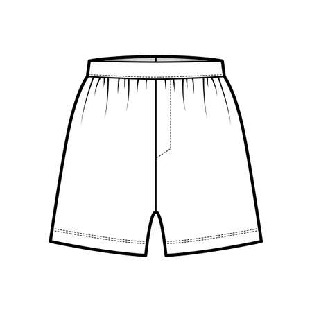 Boxer shorts underwear technical fashion illustration with loose silhouette, elastic band. Flat trunks Underpants lingerie template front, white color. Women men unisex Kacchera CAD mockup