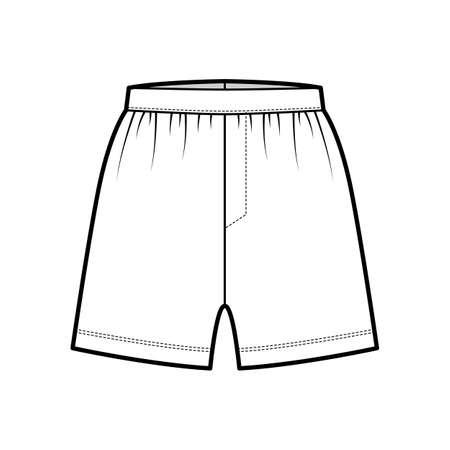 Boxer shorts underwear technical fashion illustration with loose silhouette, elastic band. Flat trunks Underpants lingerie template front, white color. Women men unisex Kacchera CAD mockup Illustration