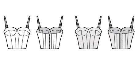 Bra longline lingerie technical fashion illustration with adjustable shoulder straps, molded cup, hook-and-eye closure. Flat template front, back white color style. Women unisex underwear CAD mockup