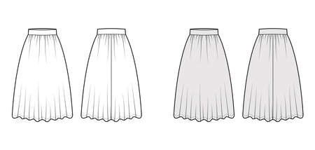 Skirt dirndl technical fashion illustration with below-the-knee lengths, semi-circular fullness, thick waistband . Flat bottom template front, back, white grey color style. Women men unisex CAD mockup