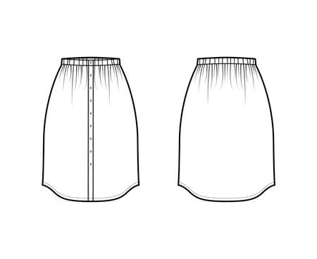 Skirt button down dirndl technical fashion illustration with straight knee silhouette, pencil fullness. Flat bottom template front, back, white color style. Women, men, unisex CAD mockup