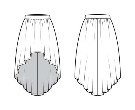 Skirt high low technical fashion illustration with knee-ancle silhouette, semi-circular fullness, thick waistband. Flat bottom template front, back, white color style. Women, men, unisex CAD mockup Vetores
