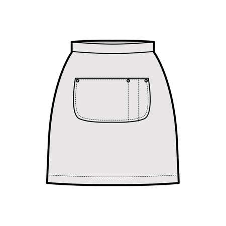 Skirt apron technical fashion illustration with mini silhouette, pencil fullness, big center pocket. Flat bottom template front, grey color style. Women, men, unisex CAD mockup