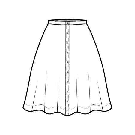 Skirt button down technical fashion illustration with semi-circular knee silhouette fullness. Flat bottom template front, white color style. Women, men, unisex CAD mockup