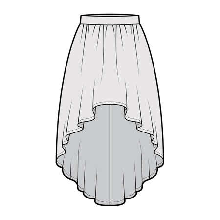 Skirt high low technical fashion illustration with knee-ancle silhouette, semi-circular fullness, thick waistband. Flat bottom template front, grey color style. Women, men, unisex CAD mockup Ilustração Vetorial