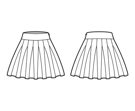 Skirt rah-rah Cheer technical fashion illustration with above-the-knee lengths silhouette, thick waistband. Flat bottom template front, back, white color style. Women, men, unisex CAD mockup