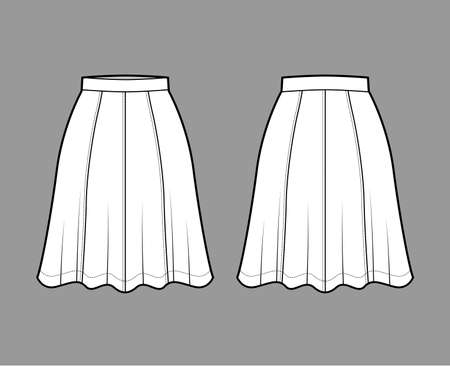 Skirt eight gore technical fashion illustration with below-the-knee silhouette, semi-circular fullness. Flat bottom template front, back, white color style. Women, men, unisex CAD mockup