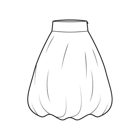 Skirt balloon technical fashion illustration with below-the-knee length silhouette, wide stretch waistband. Flat bottom template front, white color style. Women men unisex CAD mockup