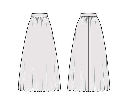 Skirt maxi dirndl technical fashion illustration with floor ankle lengths silhouette, semi-circular fullness. Flat bottom template front, back, grey color style. Women men unisex CAD mockup