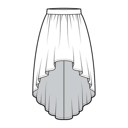 Skirt high low technical fashion illustration with knee-ancle silhouette, semi-circular fullness, thick waistband. Flat bottom template front, white color style. Women, men, unisex CAD mockup Vecteurs