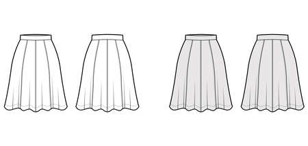 Skirt eight gore technical fashion illustration with below-the-knee silhouette, semi-circular fullness. Flat bottom template front, back, white grey color style. Women, men, unisex CAD mockup
