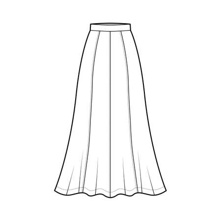Skirt maxi eight gore technical fashion illustration with ankle lengths silhouette, semi-circular fullness. Flat bottom template front, white color style. Women, men, unisex CAD mockup