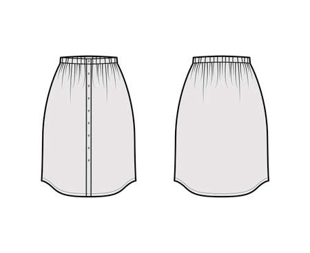 Skirt button down dirndl technical fashion illustration with straight knee silhouette, pencil fullness. Flat bottom template front, back, grey color style. Women, men, unisex CAD mockup Ilustración de vector
