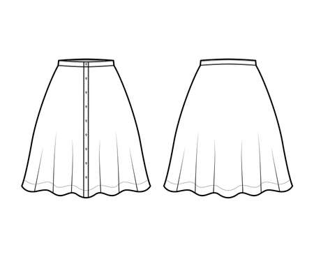 Skirt button down technical fashion illustration with semi-circular knee silhouette fullness. Flat bottom template front, back, white color style. Women, men, unisex CAD mockup