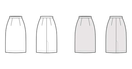 Skirt sheath straight technical fashion illustration with knee lengths, flap at back, pencil fullness. Flat bottom apparel template front, back, white, grey color style. Women, men, unisex CAD mockup