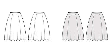 Skirt six gore technical fashion illustration with knee silhouette, semi-circular fullness, thin waistband. Flat bottom template front, back, white grey color style. Women, men, unisex CAD mockup