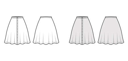 Skirt button down technical fashion illustration with semi-circular knee silhouette fullness. Flat bottom template front, back, white grey color style. Women, men, unisex CAD mockup