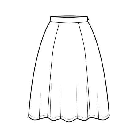Skirt six gore technical fashion illustration with knee silhouette, semi-circular fullness, thin waistband. Flat bottom template front, white color style. Women, men, unisex CAD mockup