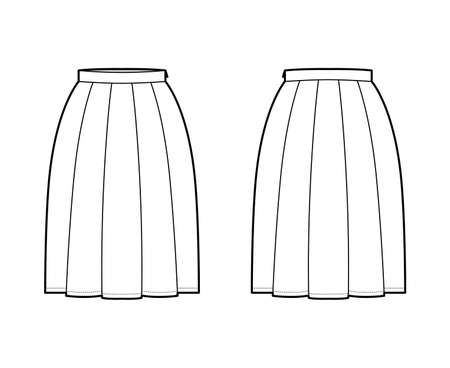 Skirt box pleat technical fashion illustration with below-the-knee silhouette, thin waistband, side zipper. Flat bottom template front, back, white color style. Women, men, unisex CAD mockup
