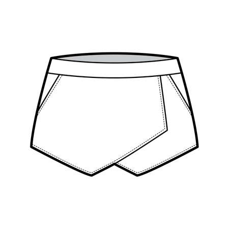 Skirt skort shorts skort technical fashion illustration with mini length silhouette, pencil fullness, thin waistband. Flat bottom template front, white color style. Women, men, unisex CAD mockup Vettoriali