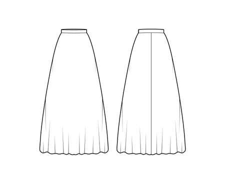Skirt maxi long technical fashion illustration with floor ankle lengths silhouette, semi-circular fullness. Flat bottom template front, back, white color style. Women men unisex CAD mockup