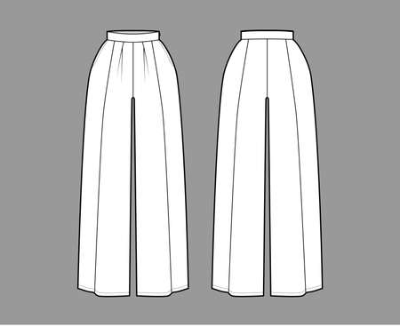 Pants skirt culotte gaucho technical fashion illustration with ankle floor length, oversize silhouette, side zipper. Flat bottom template front, back, white color style. Women, men, unisex CAD mockup