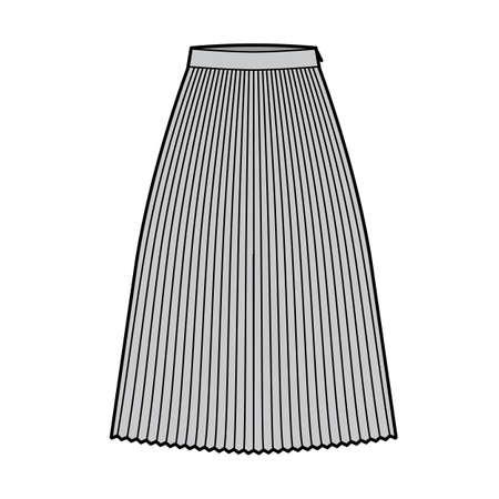 Skirt sunray pleat technical fashion illustration with below-the-knee midi length silhouette, circular fullness.