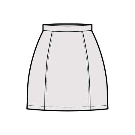 Skirt six gore mini pencil fullness technical fashion illustration with fitted silhouette, thin waistband. Flat bottom template front, grey color style. Women, men, unisex CAD mockup