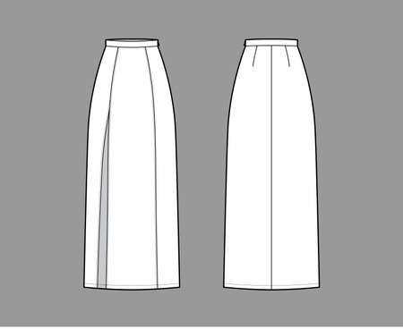 Skirt slit maxi technical fashion illustration with floor ankle lengths silhouette, pencil fullness. Flat bottom template front, back, white color style. Women men unisex CAD mockup