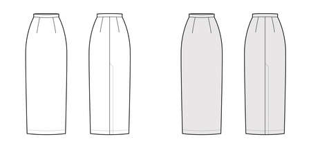 Skirt maxi pencil fullness silhouette technical fashion illustration with back slit, floor ankle lengths. Flat bottom template front, white grey color style. Women men unisex CAD mockup