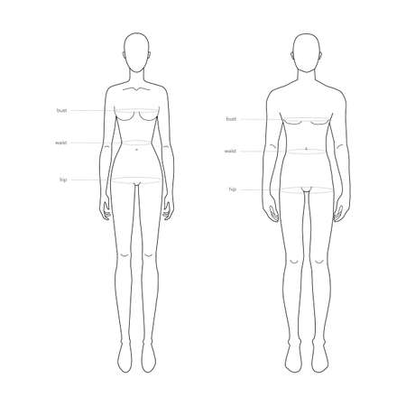 Men and women standard body parts terminology measurements Illustration for clothes and accessories production fashion 9 head male and female size chart. Human body infographic template
