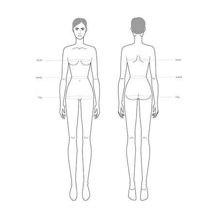 Women standard body parts terminology measurements Illustration for clothes and accessories production fashion lady size chart. 9 head girl for site and online shop. Human body infographic template Ilustración de vector