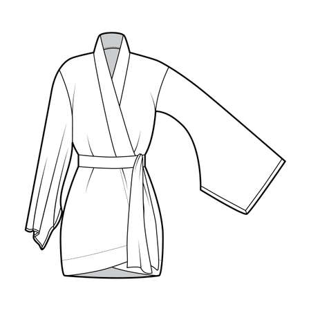 Kimono robe technical fashion illustration with long wide sleeves, belt to cinch the waist, above-the-knee length. Flat apparel blouse template front, white color. Women men unisex CAD shirt mockup
