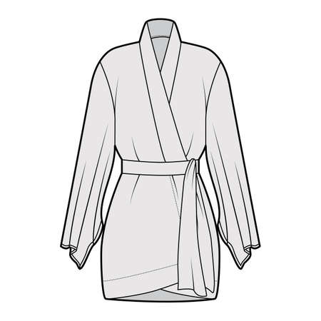Kimono robe technical fashion illustration with long wide sleeves, belt to cinch the waist, above-the-knee length. Flat apparel blouse template front, grey color. Women men unisex CAD shirt mockup