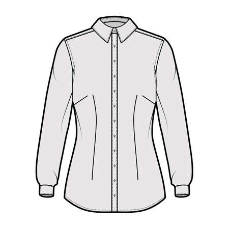 Shirt fitted technical fashion illustration with long sleeves with cuff, slim fit, darts, button-down, regular collar. Flat template front, grey color. Women men unisex top CAD mockup