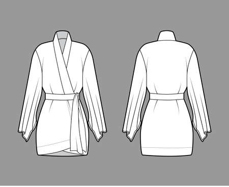 Kimono robe technical fashion illustration with long wide sleeves, belt to cinch the waist, above-the-knee length. Flat apparel blouse template front, back white color. Women unisex CAD shirt mockup