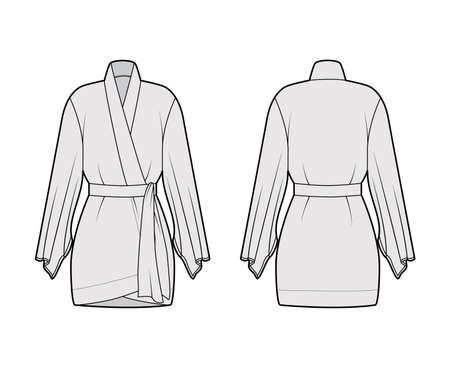 Kimono robe technical fashion illustration with long wide sleeves, belt to cinch the waist, above-the-knee length. Flat apparel blouse template front back grey color. Women men unisex CAD shirt mockup