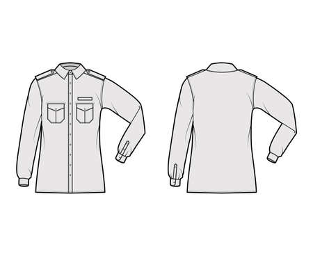 Shirt military technical fashion illustration with epaulette, flaps angled pockets, elbow fold long sleeve, relax fit, button-down. Flat template front, back grey color. Women men unisex top CAD Ilustracje wektorowe