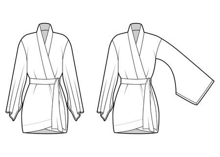 Set of Kimono robe technical fashion illustration with long wide sleeves, belt to cinch the waist, above-the-knee length. Flat blouse template front, white color. Women men unisex CAD shirt mockup 向量圖像