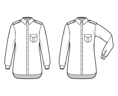Shirt epaulette technical fashion illustration with flaps angled pocket, elbow fold long sleeve, relax fit, button-down, regular collar. Flat template front white, color. Women men unisex top CAD Ilustracje wektorowe