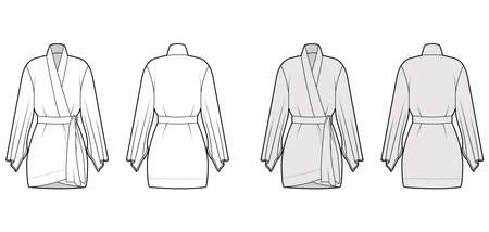 Kimono robe technical fashion illustration with long wide sleeves, belt to cinch the waist, above-the-knee length. Flat apparel blouse template front, back white grey color. Women men CAD shirt mockup 向量圖像