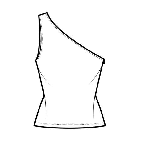 One-shoulder top tank technical fashion illustration with fitted slim body, tunic length hem. Flat outwear shirt apparel template front, white color. Women, men unisex CAD mockup