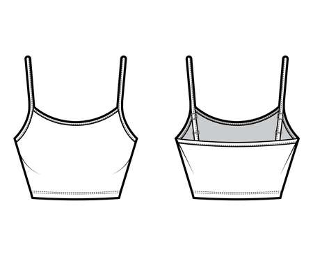 Crop Camisole scoop neck cotton-jersey top technical fashion illustration with thin adjustable straps, slim fit. Flat outwear tank template front, back, white, color. Women men unisex CAD mockup Vector Illustration